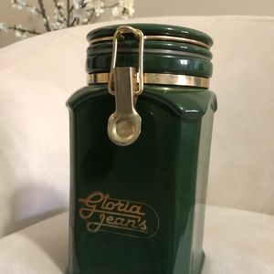 Vintage Gloria Jeans Coffee Canister Green & Gold